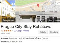 prague city stay rohacova google review page